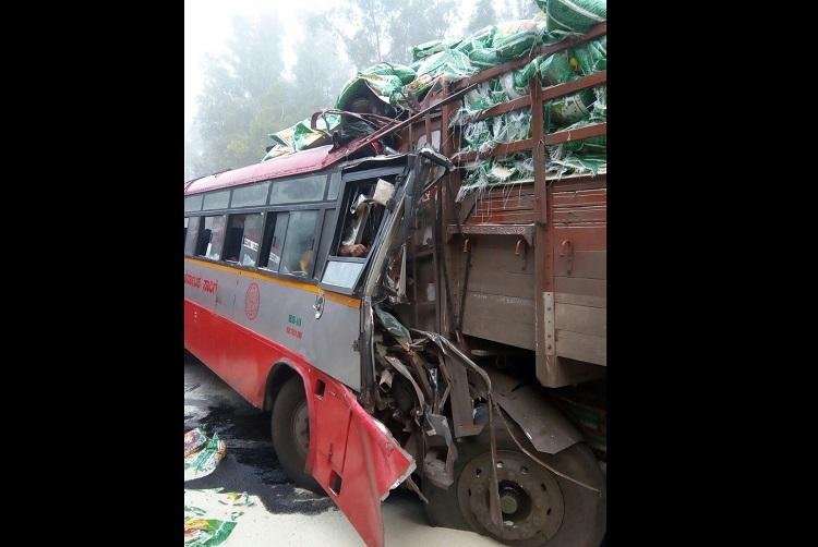 Five killed and several injured in Mysuru after KSRTC bus and lorry collide