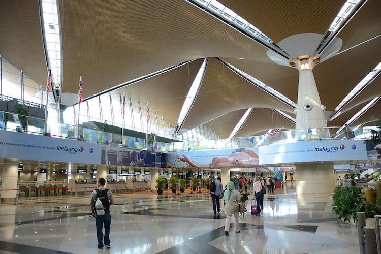 Empt Kuala Lumpur International Airport with few passengers