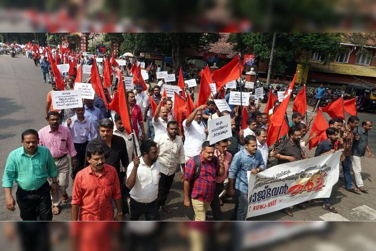 Kerala media workers protest new labour law proposed by centre