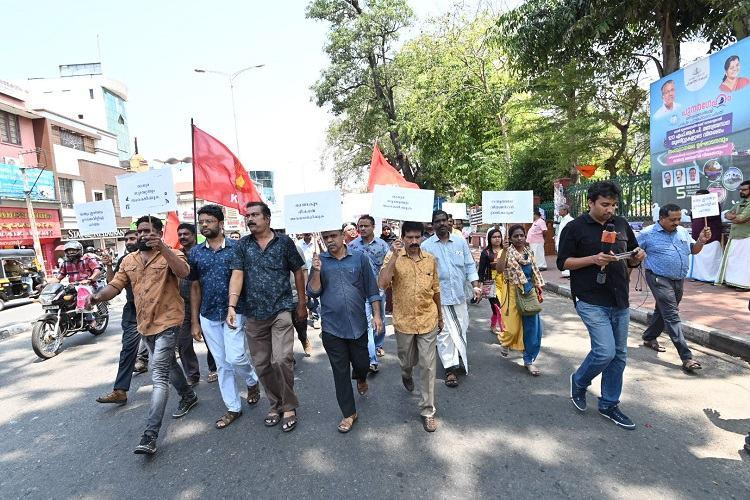 Dark day for democracy Kerala journalists protest govt ban on Asianet MediaOne
