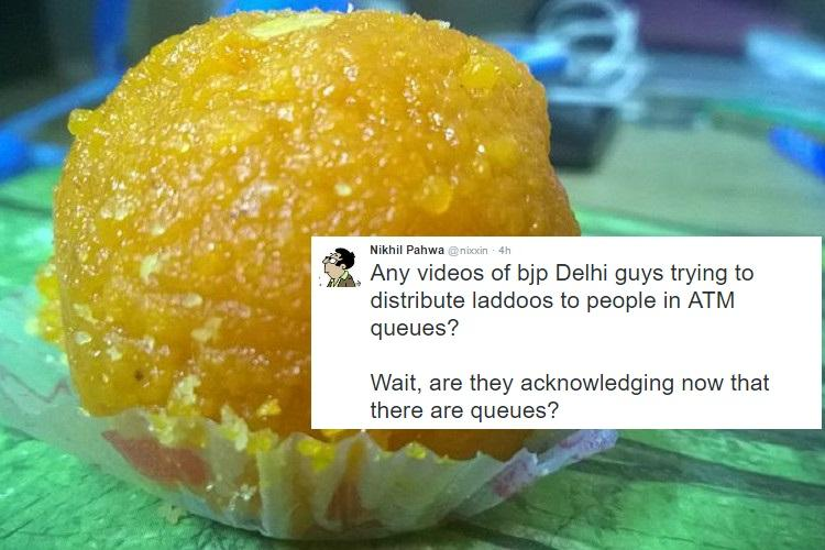 Delhi BJP offers laddoos for people in ATM queues Twitter has not so sweet response