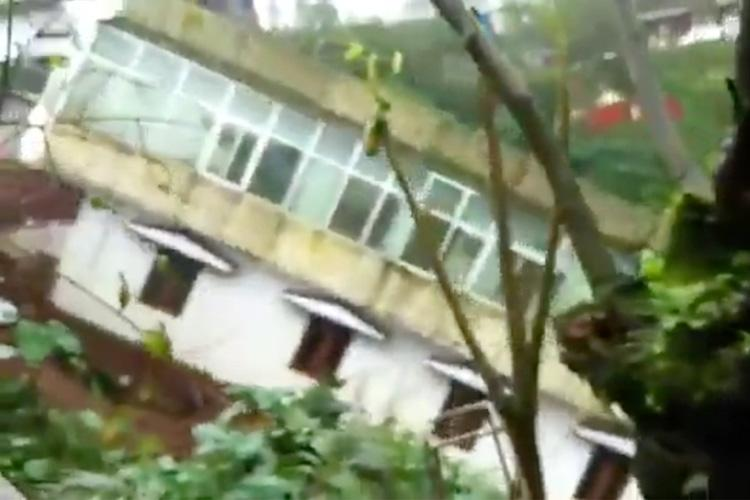 Watch Two-storey building sliding down hill in Kodagu shows how bad rains are