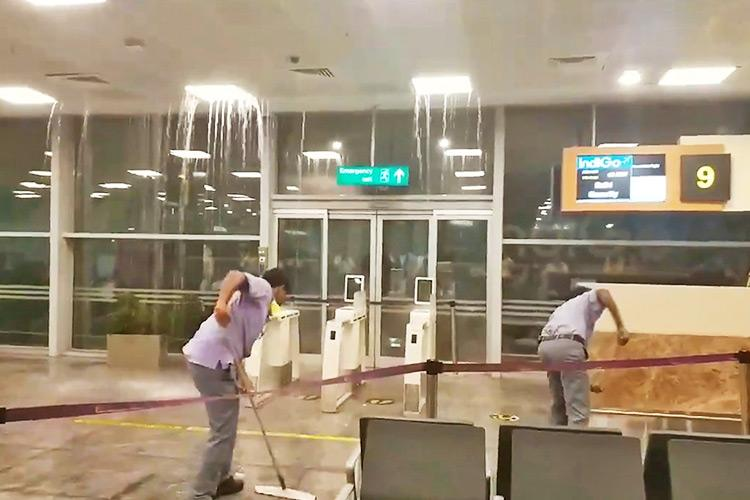 Video Bengaluru airport sees major leak from ceiling after heavy rainfall