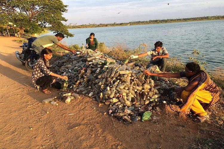 Dumping in water bodies 4000 liquor bottles fished out from Coimbatore lake