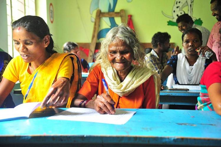 Women of all ages attend an exam of Kerala Literacy Mission