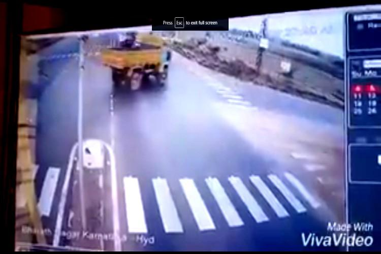 Horrific crash caught on cam Bus rams into lorry in Telangana one dead