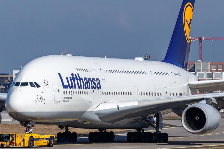 Lufthansa airline parked on runway