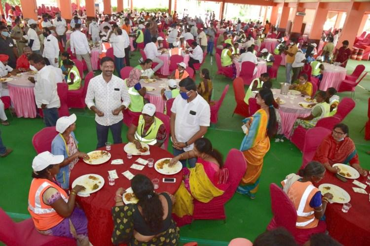 A community lunch organised by authorities in Karimnagar