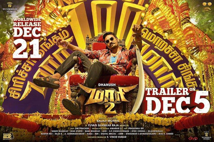 Watch Maari 2 trailer has Dhanush Sai Pallavi Tovino and Varalaxmi in action
