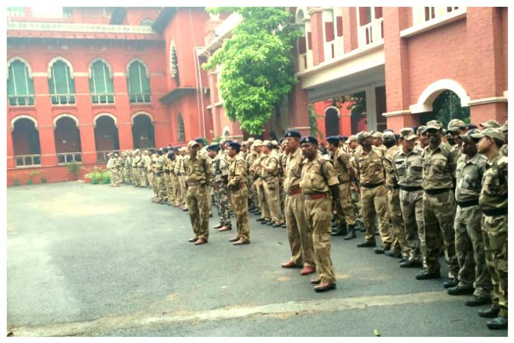 In pictures CISF personnel arrive to protect Madras High Court premises