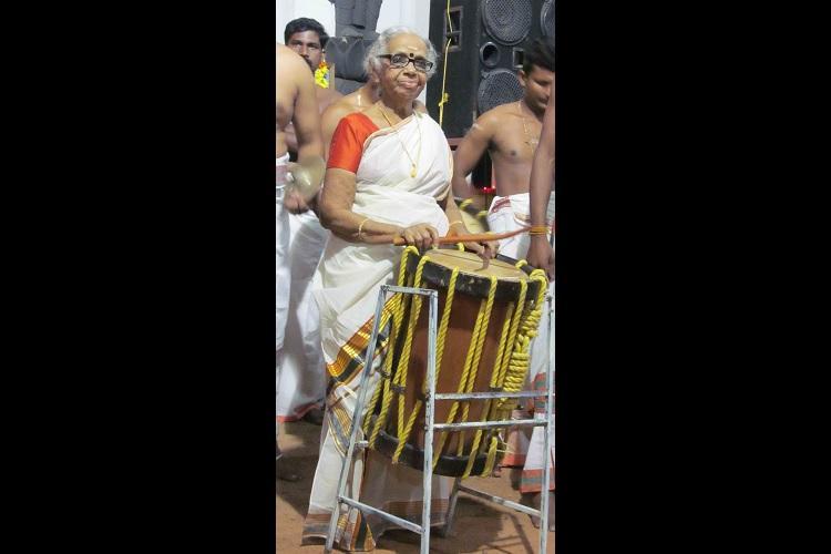 Drumming her way into hearts 80-yr-olds Chenda debut on Vijaya Dashami
