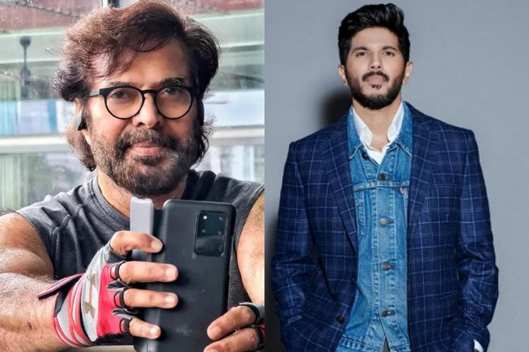 Left side shows Mammoottys selfie of workout picture where he is wearing a sleeveless banyan a paid or glasses and holds a mobile phone against his face The right side shows a picture of Dulquer Salman wearing a blue shirt and jacket