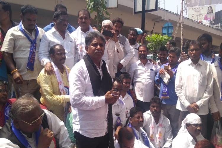 ead390217023 Giving an ultimatum of 24 hours to the Greater Hyderabad Municipal  Corporation to restore the statue of BR Ambedkar, Dalit leader Manda  Krishna Madiga on ...