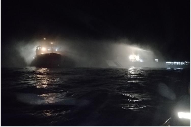 Ship catches fire off Mangaluru coast 46 people onboard rescued