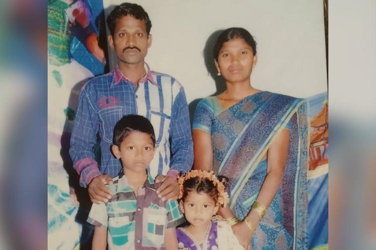 Family photo of Sudhakar, who died while cleaning a manhole