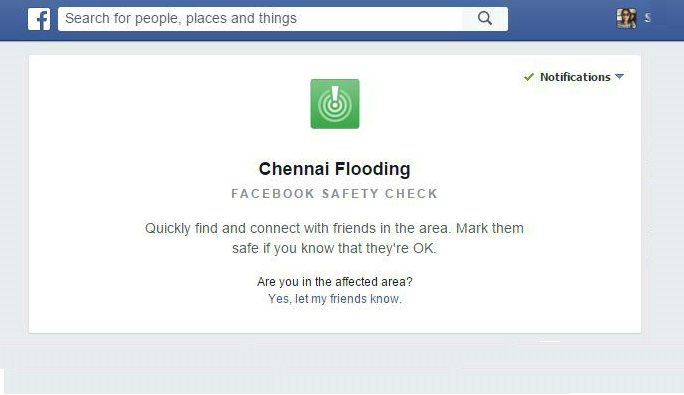 Facebook activates safety check for Chennai as communication remains erratic