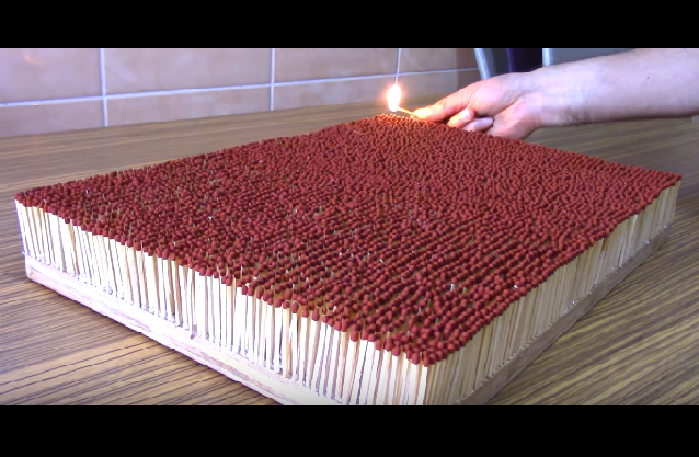 Video This is what 6000 matches burning in a chain reaction look like