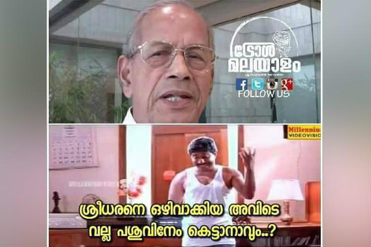E Sreedharan excluded to tie some cows on dais Memes tweets question PMOs decision