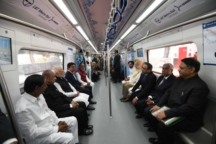 Hyderabad Metro Rail finally open PM Modi takes inaugural ride from Miyapur