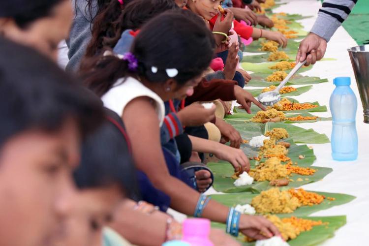 Kids having meals in school Akshaya Patra