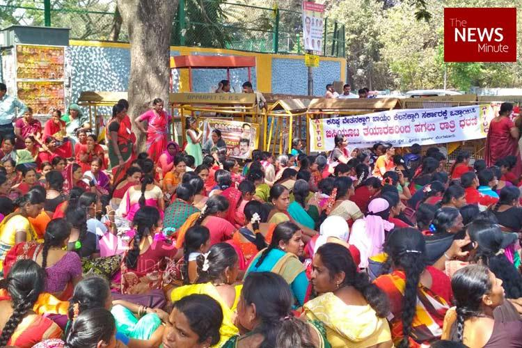 Need better wages job security Ktaka midday meal workers protest at Freedom Park