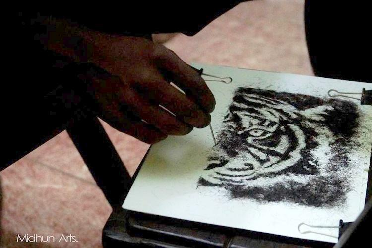 This Kerala artist actually uses human hair to create beautiful pieces of art