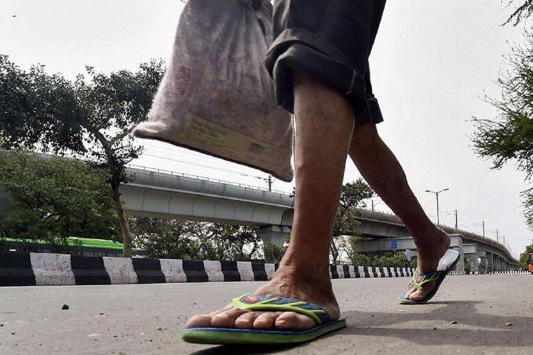 A migrant worker amid the coronavirus lockdown in India