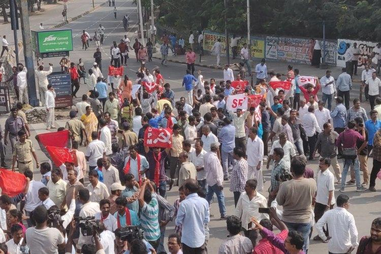 TSRTC strike Protesters detained for defying Hyd police orders on Chalo Tank Bund