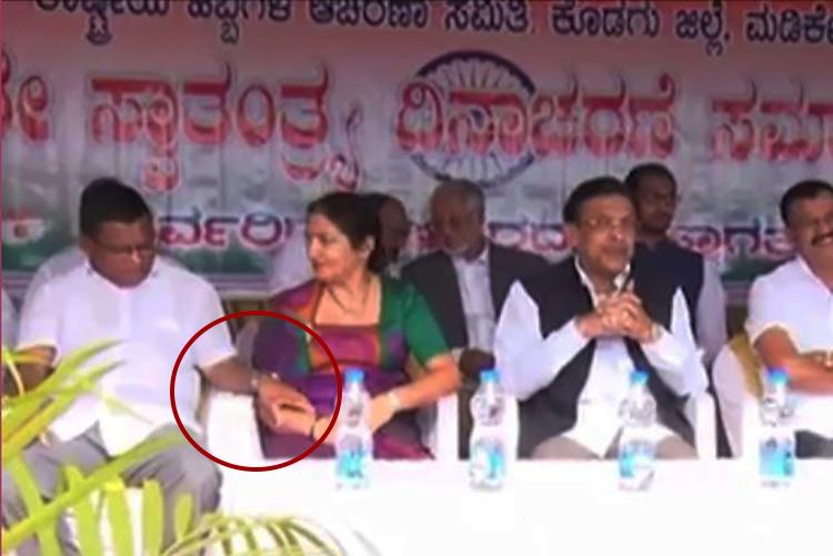 Caught on cam Karnataka Cong leader holds woman MLCs hand as she squirms in discomfort
