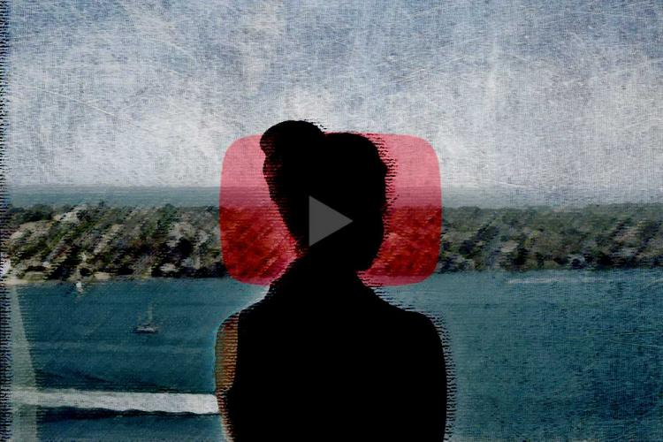 A collage of Youtube logo and women silhoutte
