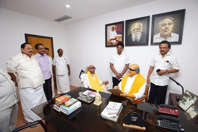 In pics Karunanidhis first public appearance in months visits Murasoli office