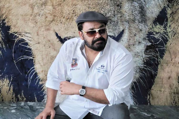 Mohanlal wearing a beret and shades strikes a pose
