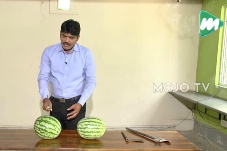 A new low Telugu TV reporter re-creates murder of a politician with two watermelons