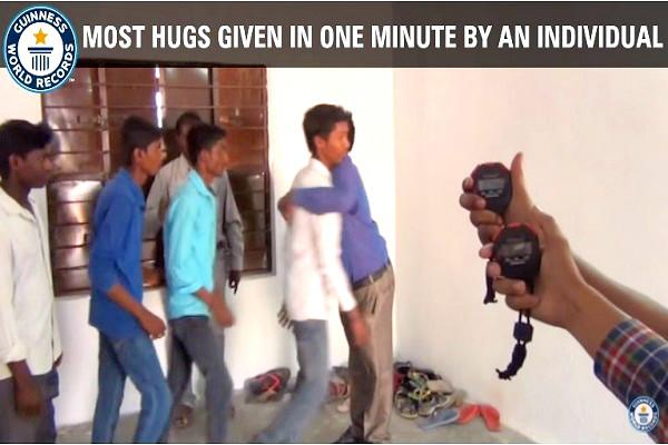 How many people can you hug in a minute Hyderabad man has the record to beat