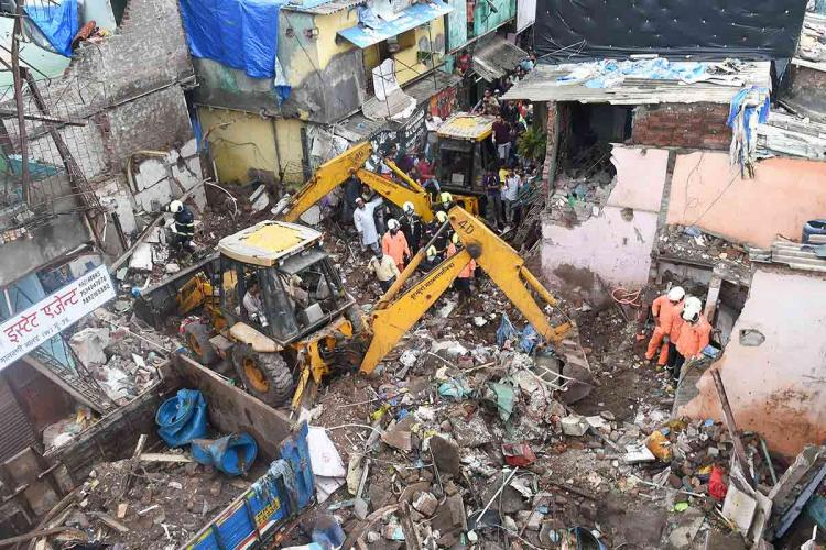 The site when the building collapsed in Mumbai