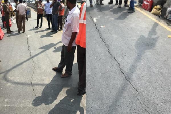 Fresh cracks emerge on Anna Salai near Gemini flyover sparking fears of another cave-in