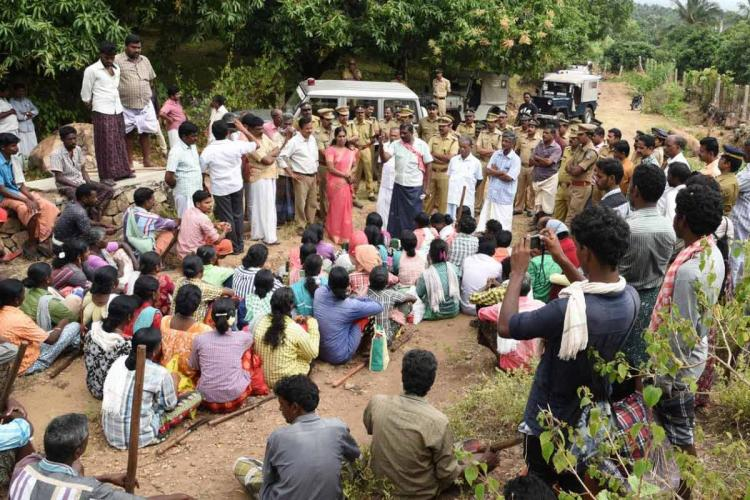 Tribal people protesting for a road