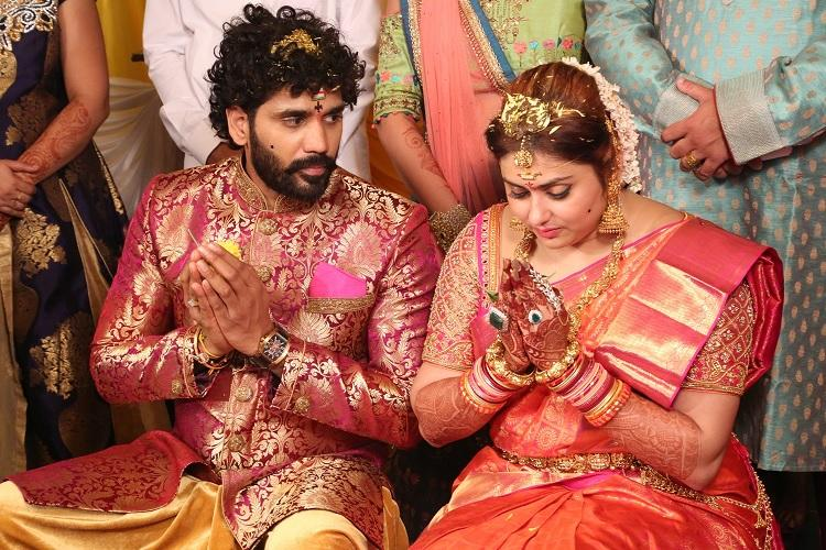 In pictures Actor Namitha ties the knot with producer Veerandra