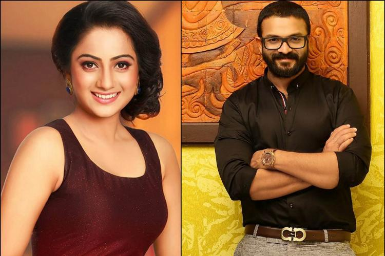 Namitha in a maroon sleeveless dress on the left side and Jayasurya in a black shirt and spectacles on the right