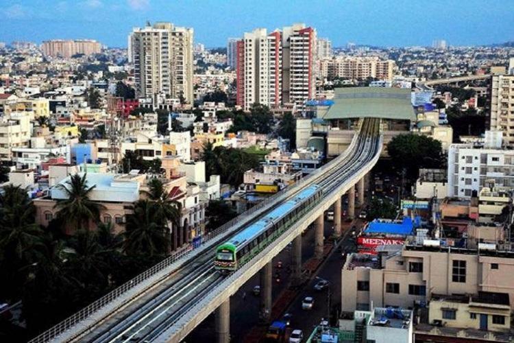 An aerial view of Green Line of Bengaluru Namma Metro