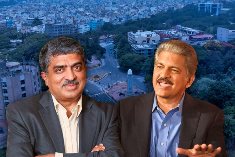 Collage of Anand Mahindra and Nandan Nilekani with the city of Bengaluru in the background