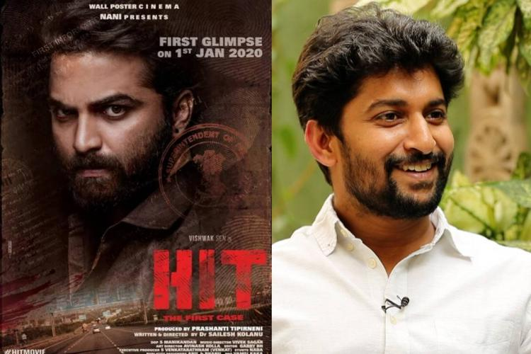 Actor Nani and the poster of the thriller film HIT featuring Vishwak Sen