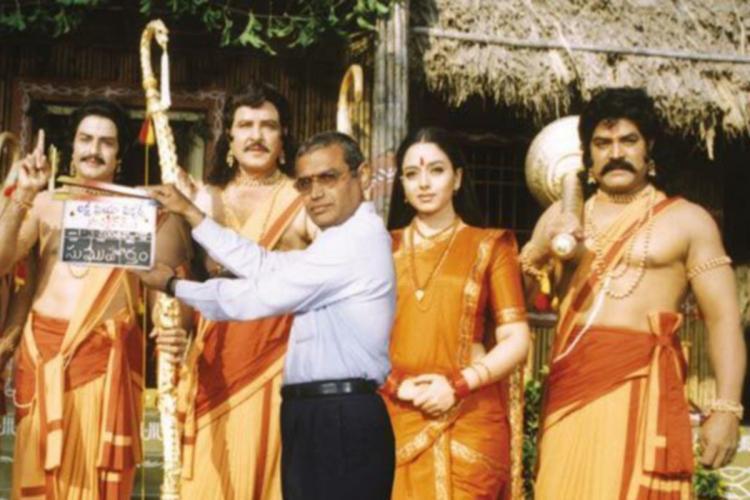 Balakrishna Soundarya Srihari during the shooting of Narthanasala in 2004 in costume