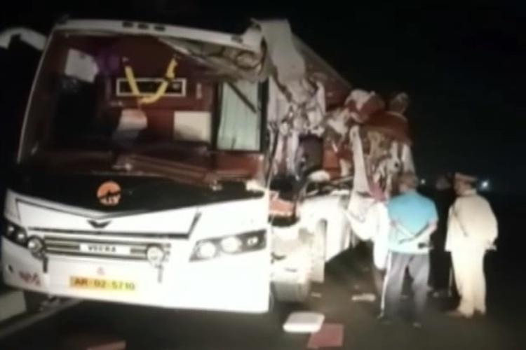 Overspeeding bus hits lorry in Andhra: 3 killed, 10 critical
