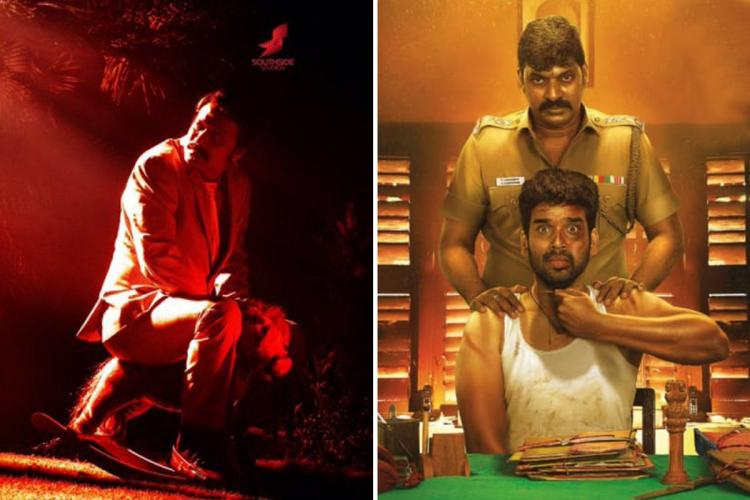 Poster from Nenjam Marapathillai on the left and Kaval Thurai Ungal Nanban on the right
