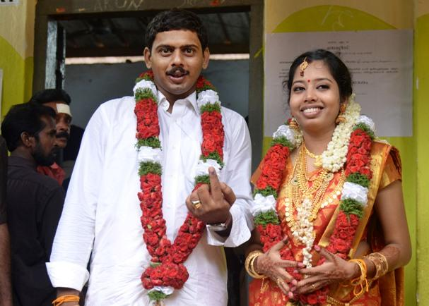 Voting on wedding day Kerala TN brides show the way in state assembly polls