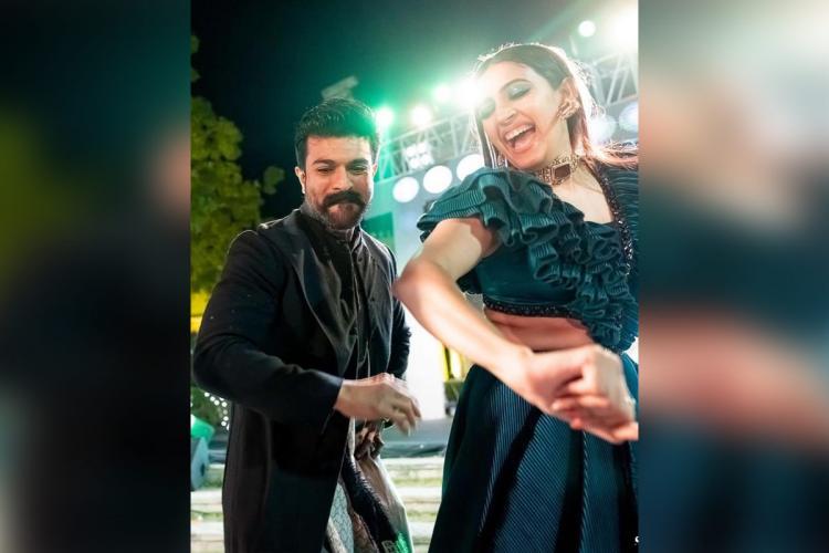 Niharika Konidela in green dancing with actor Ram Charan at Udaipur for her wedding
