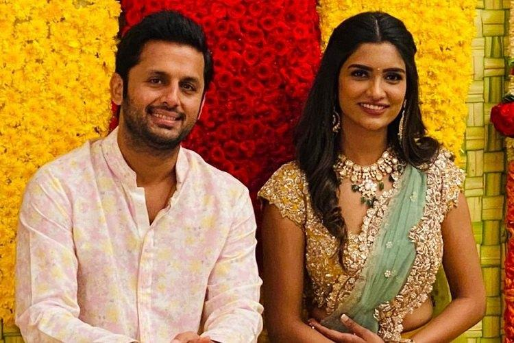 In pics Actor Nithiin gets engaged to girlfriend Shalini in Hyderabad