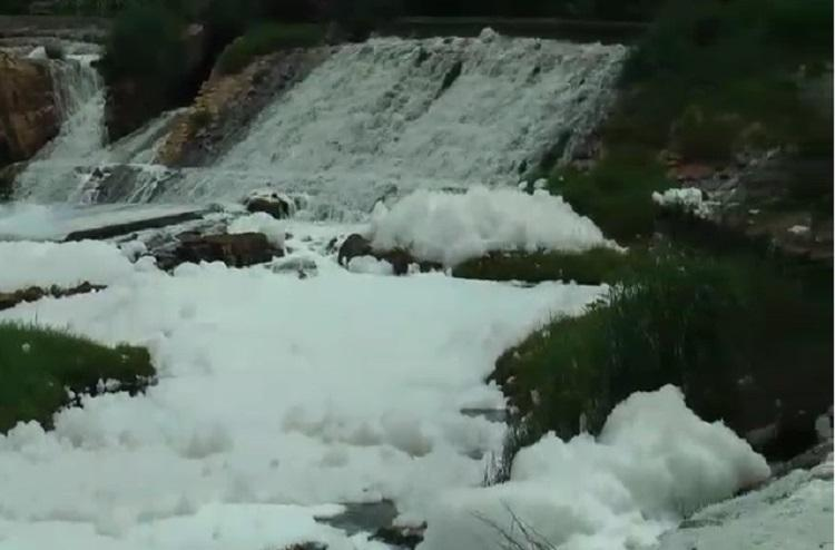 Noyyal river pours out toxic foam again TN residents say govt turning a blind eye