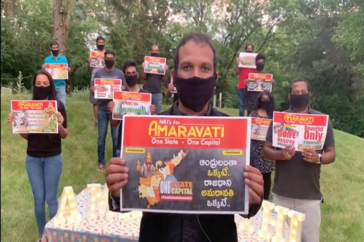 NRIs from Andhra staging a protest in support of Save Amaravati